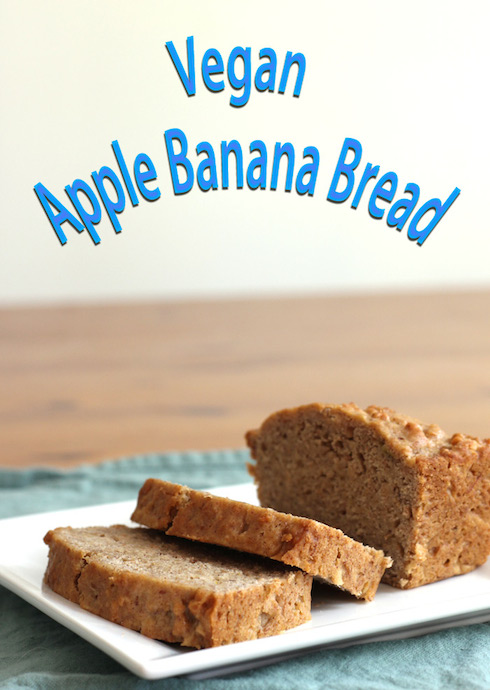 Illustrated recipe for a vegan version of a deliciously soft apple banana bread