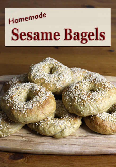 An illustrated recipe for homemade bagels with flax and sesame seeds