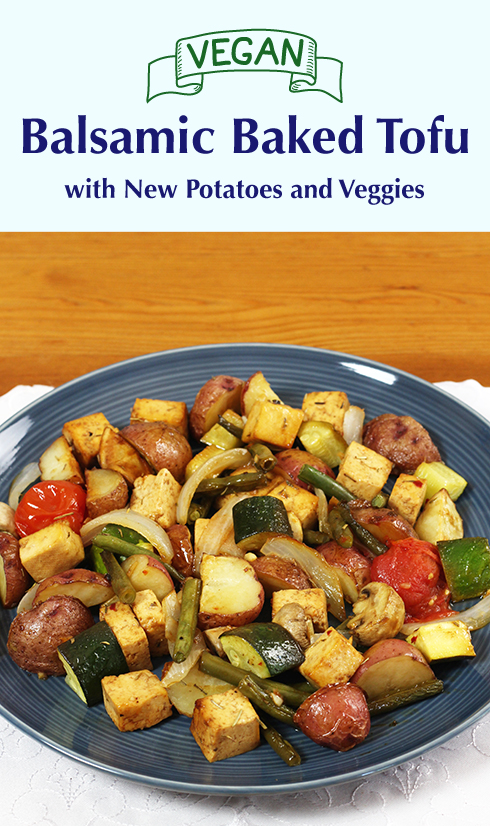 Simple, one-pan recipe for vegan baked tofu in a balsamic vinegar marinade with new potatoes and veggies