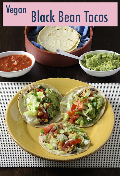 Step-by-step instructions for making vegan tacos from scratch with refried black beans, Mexican rice, guacamole and veggies on homemade corn tortillas