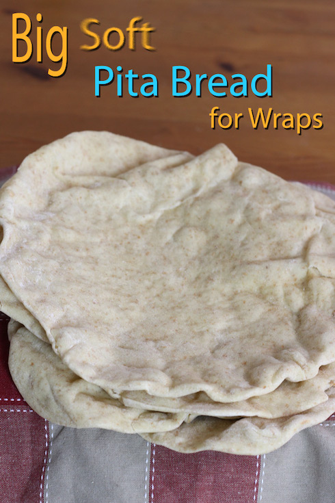An illustrated recipe for homemade 12 inch pitas suitable for wraps