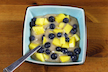Six-Ingredient Vegan Butterscotch Pudding with Mango and Blueberry