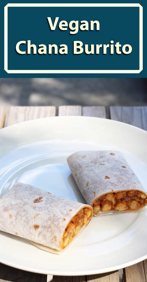 Recipe for a chana burrito, a quick-but-substantial vegan meal to go