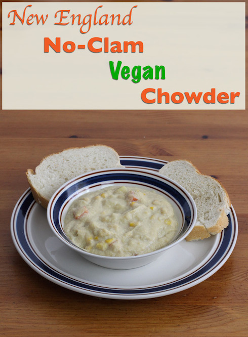 An illustrated recipe for simple vegan chowder