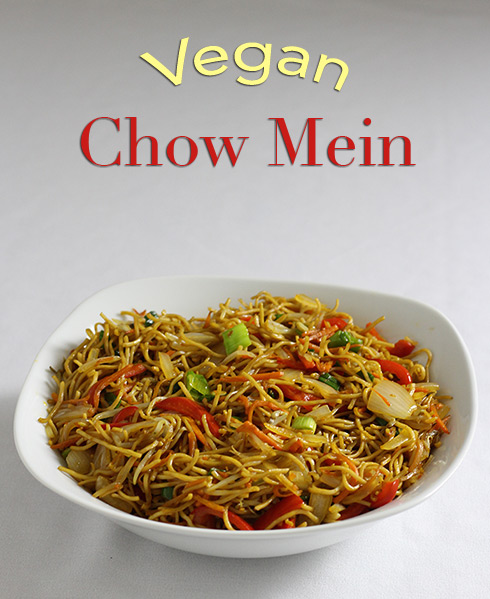 Illustrated recipe for vegan chow mein noodles