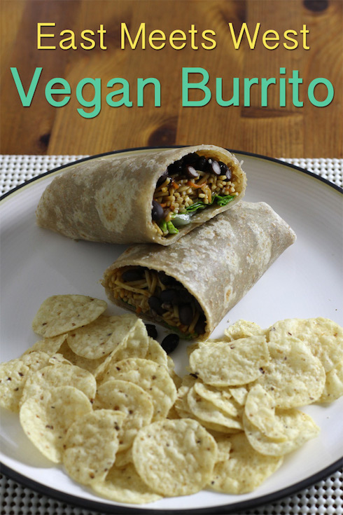 Illustrated recipe for a vegan black bean burrito with chow mein noodles instead of rice