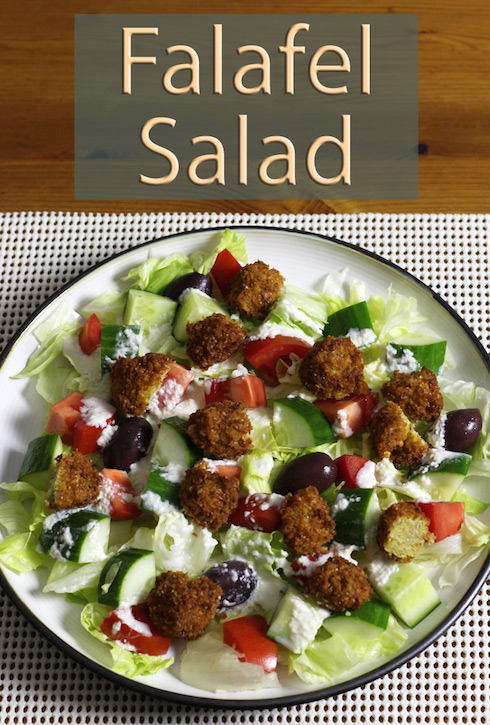 Falafels from scratch in a salad with tahini dressing