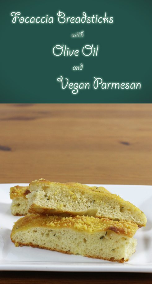 Simple vegan appetizer recipe that combines focaccia with tasty (but fake) parmesan and olive oil
