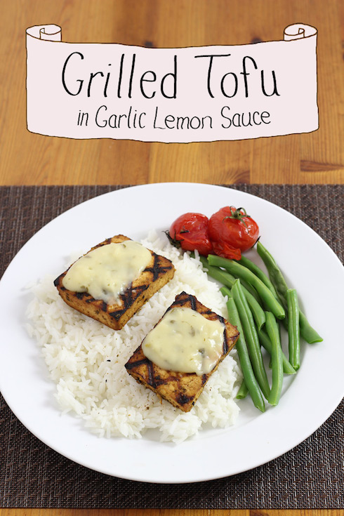 Illustrated recipe for marinating and grilling tofu, topped with a garlic lemon sauce