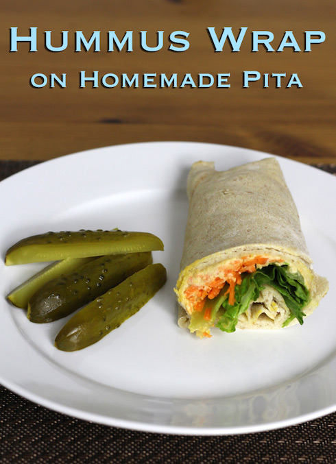 Step-by-step recipe for a vegan hummus wrap with homemade pita bread