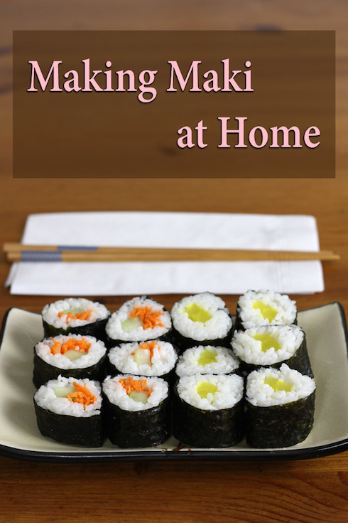 Step-by-step illustrated recipe for vegan maki sushi