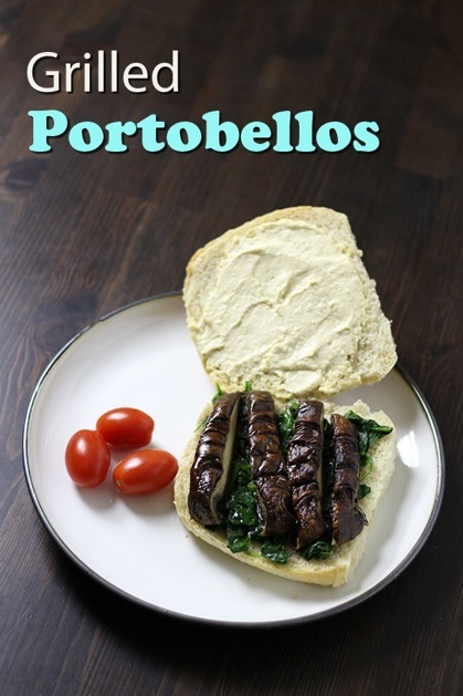 An illustrated recipe for a vegan portobello mushroom sandwich with steamed baby spinach and hummus