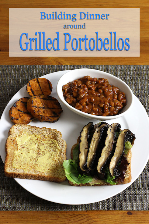 Making a (somewhat) nutritious meal using portobello mushrooms