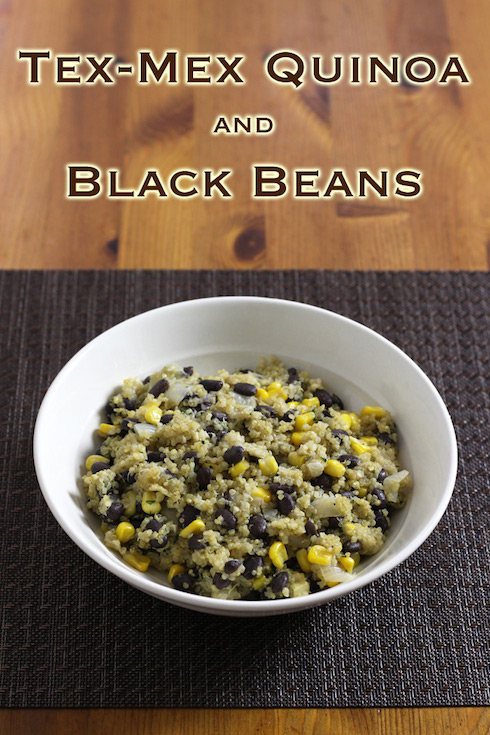 Recipe for a vegetarian side dish with quinoa and black beans