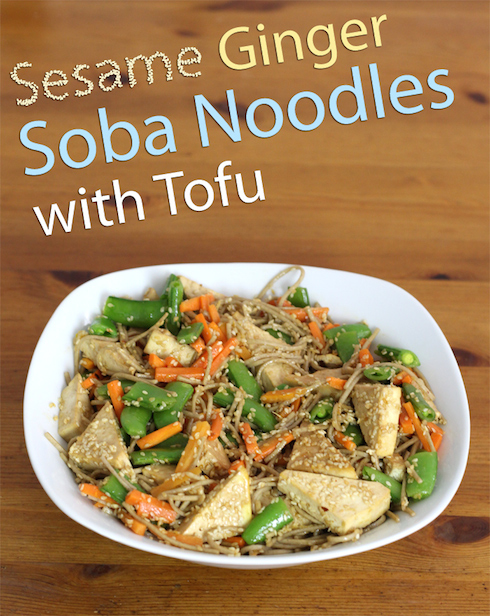 An illustrated recipe for vegan Japanese noodles with tofu in a sesame ginger sauce