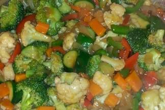A recipe for stir-frying vegetables with a thick sauce