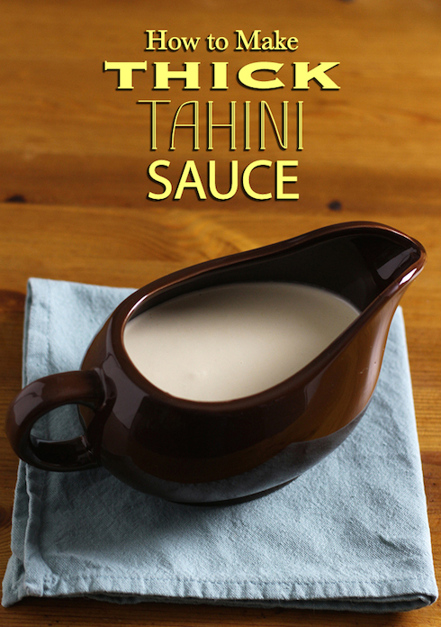 Tahini sauce is great, but not if it's thin and watery.  All you need to make it stick is a whisk.
