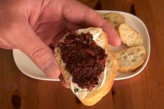 Tapenade made with olives, capers and sun-dried tomatoes