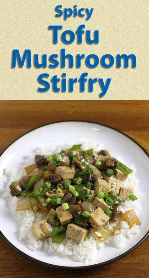 Shiitake mushrooms and red hot chilies combine to add depth to this #vegan tofu stirfry