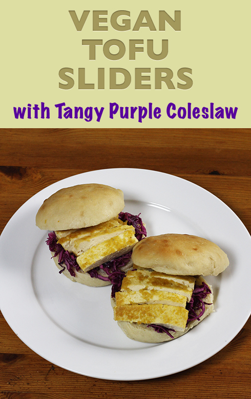 Simple recipe for vegan tofu sliders with tangy purple coleslaw